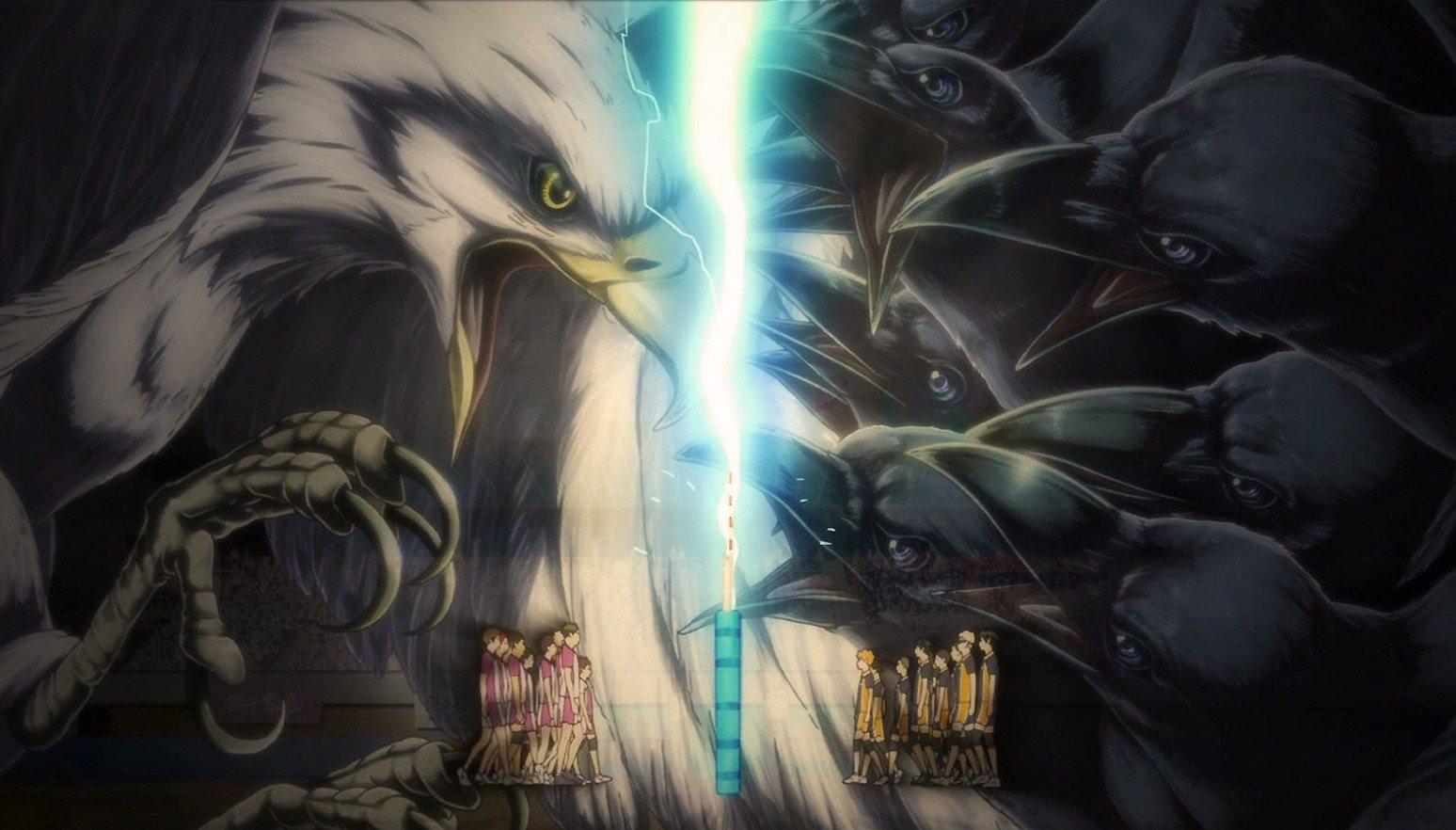 Haikyuu!!, Karasuno, Shiratorizawa, Eagle, Crow, Anime, Anime art Wallpaper