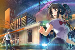 your name., Miyamizu Mitsuha, Tachibana Taki, Train, Cityscape, Clear sky, Bridge, School uniform
