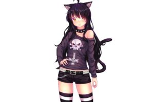 cat girl, Fast runner 2024, Long hair, White background, Simple background, Animal ears, Black hair, Chains, Choker, Gothic, Shorts, Tail, Yellow eyes, Thigh highs