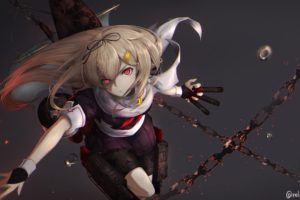 blonde, Red eyes, Kantai Collection, School uniform, Yuudachi (KanColle), Chains, Simple background, Anime girls, Anime