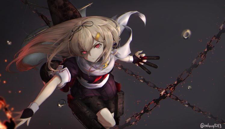 blonde, Red eyes, Kantai Collection, School uniform, Yuudachi (KanColle), Chains, Simple background, Anime girls, Anime HD Wallpaper Desktop Background