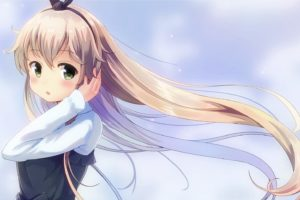 blonde, Green eyes, Long hair, Anime, Anime girls, Kantai Collection, Shimakaze (Kancolle)