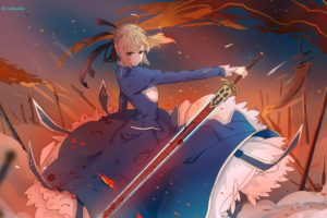 short hair, Blonde, Anime, Anime girls, Fate Stay Night, Saber, Blood, Dress, Sword, Weapon