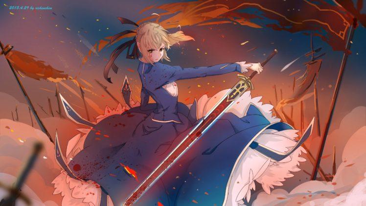 short hair, Blonde, Anime, Anime girls, Fate Stay Night, Saber, Blood, Dress, Sword, Weapon HD Wallpaper Desktop Background