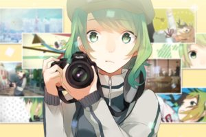 short hair, Green hair, Green eyes, Anime, Anime girls, Camera, Hat, Vocaloid, Megpoid Gumi
