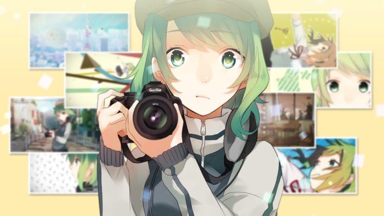 short hair, Green hair, Green eyes, Anime, Anime girls, Camera, Hat, Vocaloid, Megpoid Gumi HD Wallpaper Desktop Background