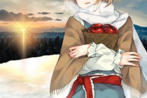 short hair, Blonde, Blue eyes, Anime, Anime girls, Sunset, Snow, Apples