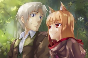 red eyes, Anime, Anime girls, Spice and Wolf, Lawrence Craft, Holo, Animal ears