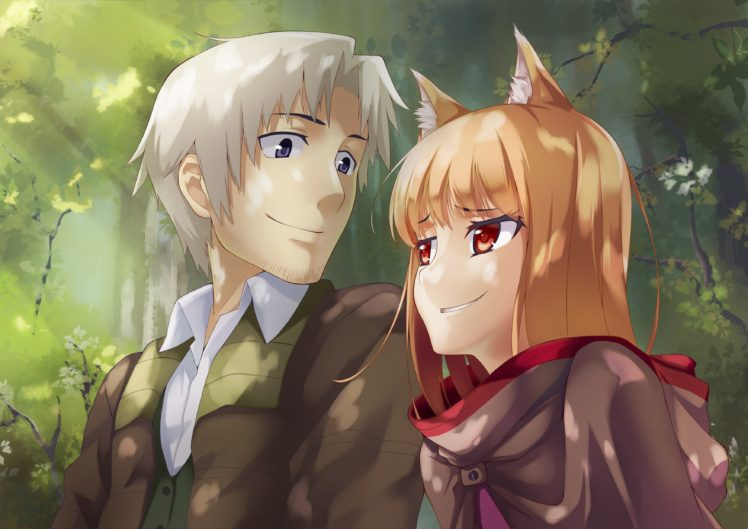 red eyes, Anime, Anime girls, Spice and Wolf, Lawrence Craft, Holo, Animal ears HD Wallpaper Desktop Background