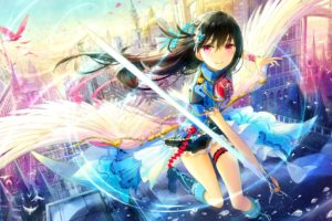 pink eyes, Anime, Anime girls, Wings, Sword, Weapon, Black hair