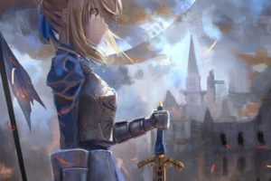 short hair, Blonde, Anime, Anime girls, Fate Zero, Fate Stay Night, Saber, Armor, Sword, Weapon, Moon