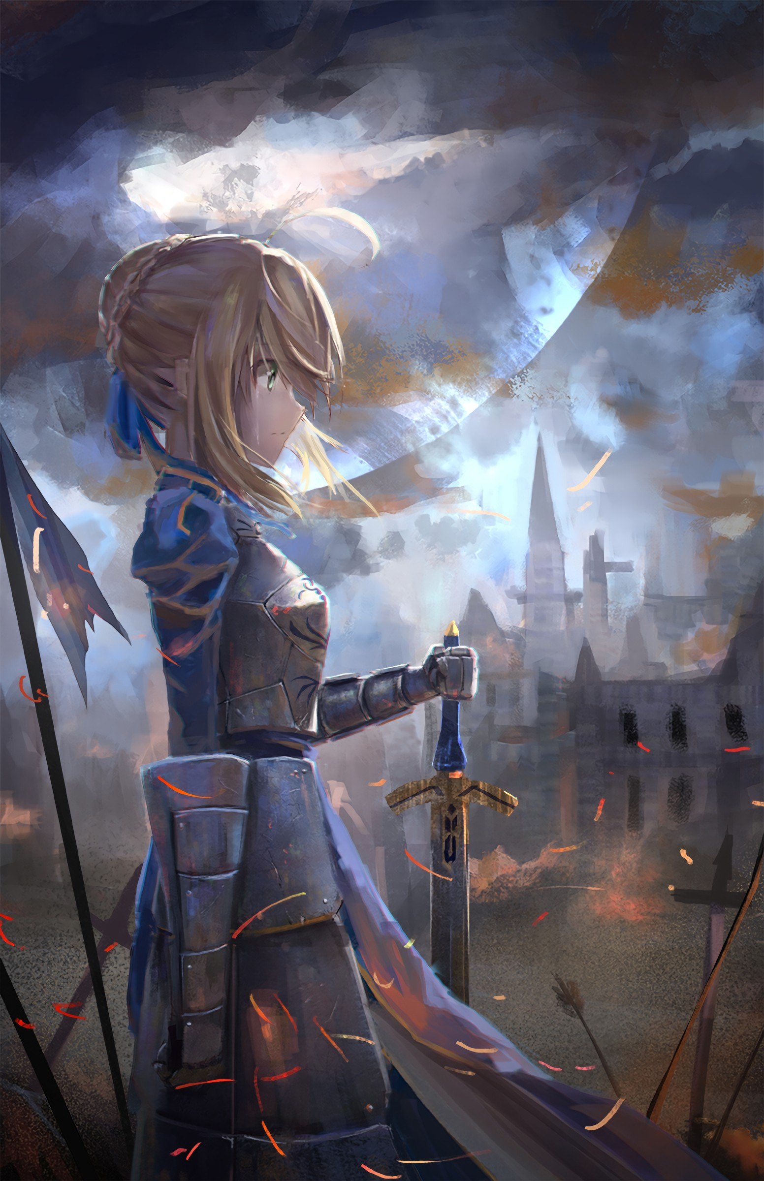 short hair, Blonde, Anime, Anime girls, Fate Zero, Fate Stay Night, Saber, Armor, Sword, Weapon, Moon Wallpaper