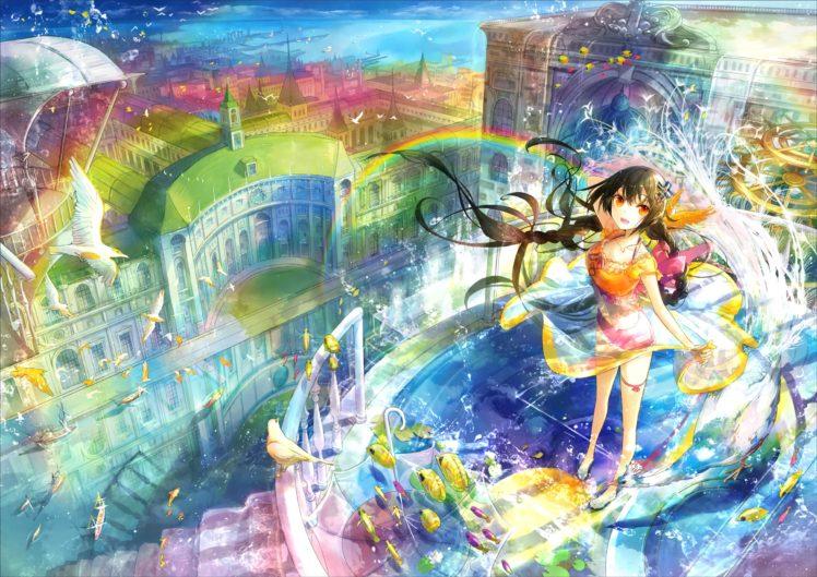 long hair, Red eyes, Anime, Anime girls, Fish, Birds, Water, Black hair, Twintails HD Wallpaper Desktop Background