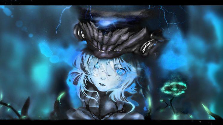 blue eyes, Lightning, Cosmos (flower), Kantai Collection, Magic, Crown, Vines, Glowing eyes HD Wallpaper Desktop Background