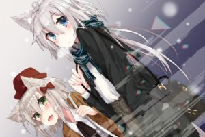 short hair, Long hair, Green eyes, Blue eyes, Anime, Anime girls, Animal ears, Gray hair