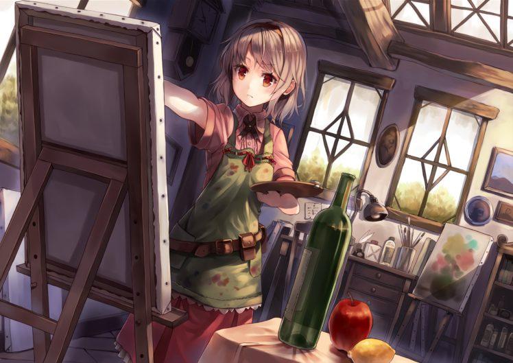 short hair, Red eyes, Anime, Anime girls, Painting, Gray hair HD Wallpaper Desktop Background