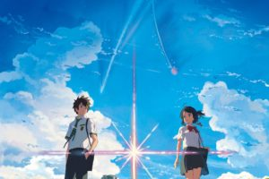 anime, Anime girls, Landscape, Your name., Miyamizu Mitsuha, Tachibana Taki, Street, Grass, Skirt, Knee highs, Clouds, Sky