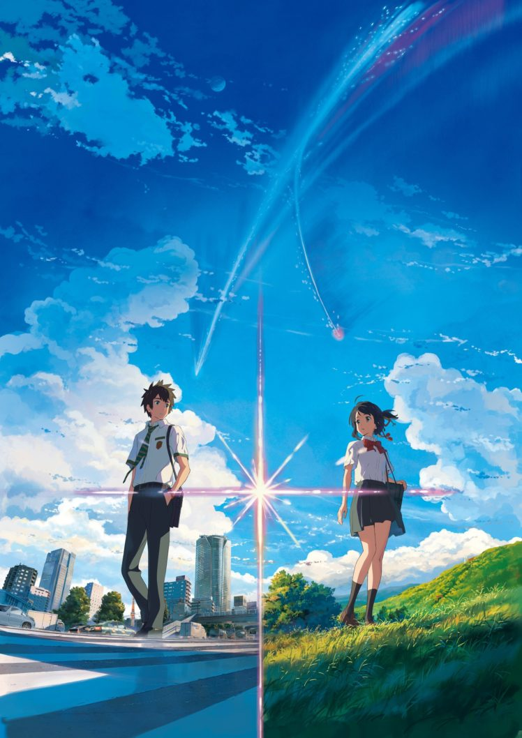 anime, Anime girls, Landscape, Your name., Miyamizu Mitsuha, Tachibana Taki, Street, Grass, Skirt, Knee highs, Clouds, Sky HD Wallpaper Desktop Background
