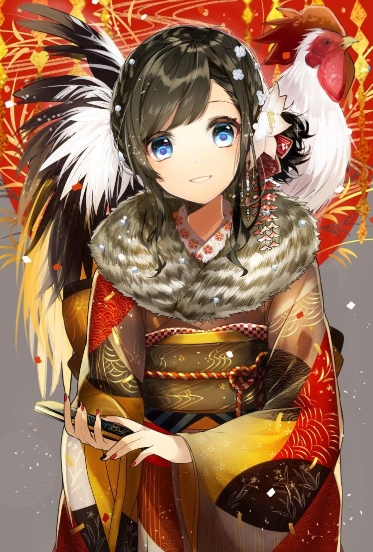 short hair, Blue eyes, Anime, Anime girls, Kimono, Japanese clothes HD Wallpaper Desktop Background