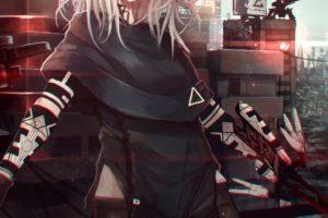 long hair, Red eyes, Anime, Anime girls, Gray hair, Cyberpunk