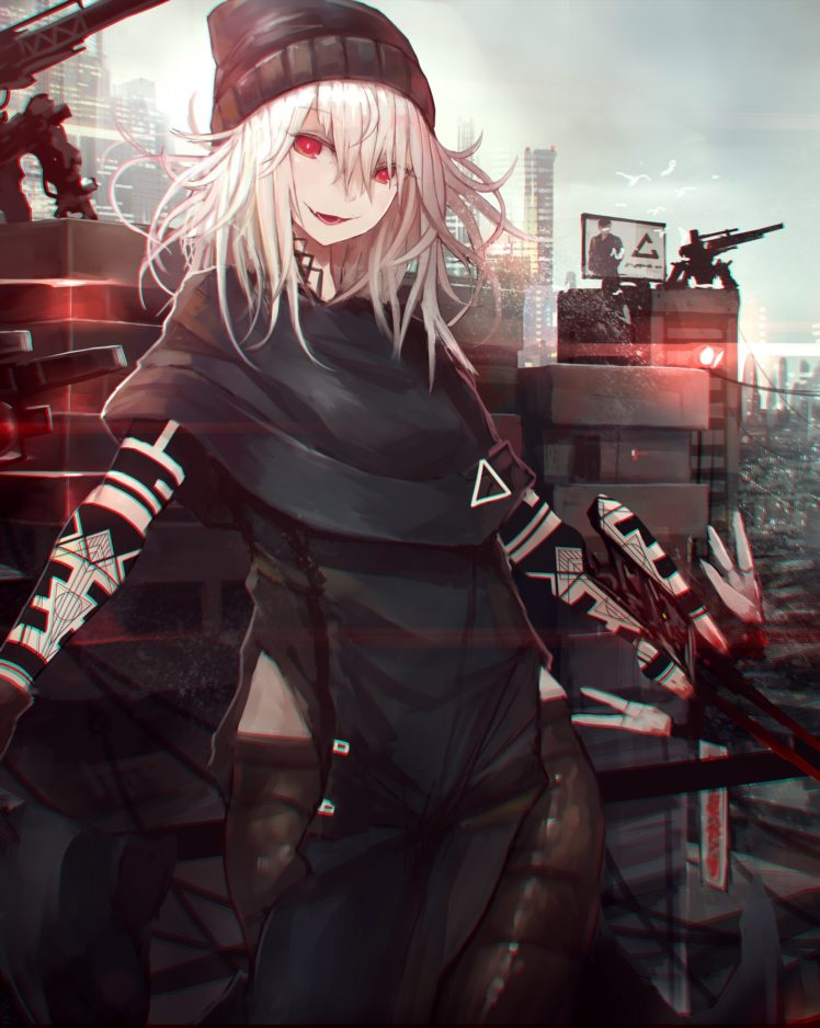 long hair, Red eyes, Anime, Anime girls, Gray hair, Cyberpunk HD Wallpaper Desktop Background