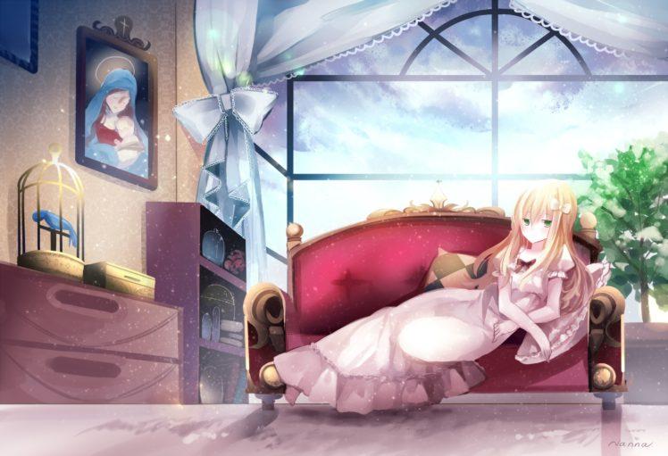 long hair, Blonde, Green eyes, Anime, Anime girls, Dress HD Wallpaper Desktop Background