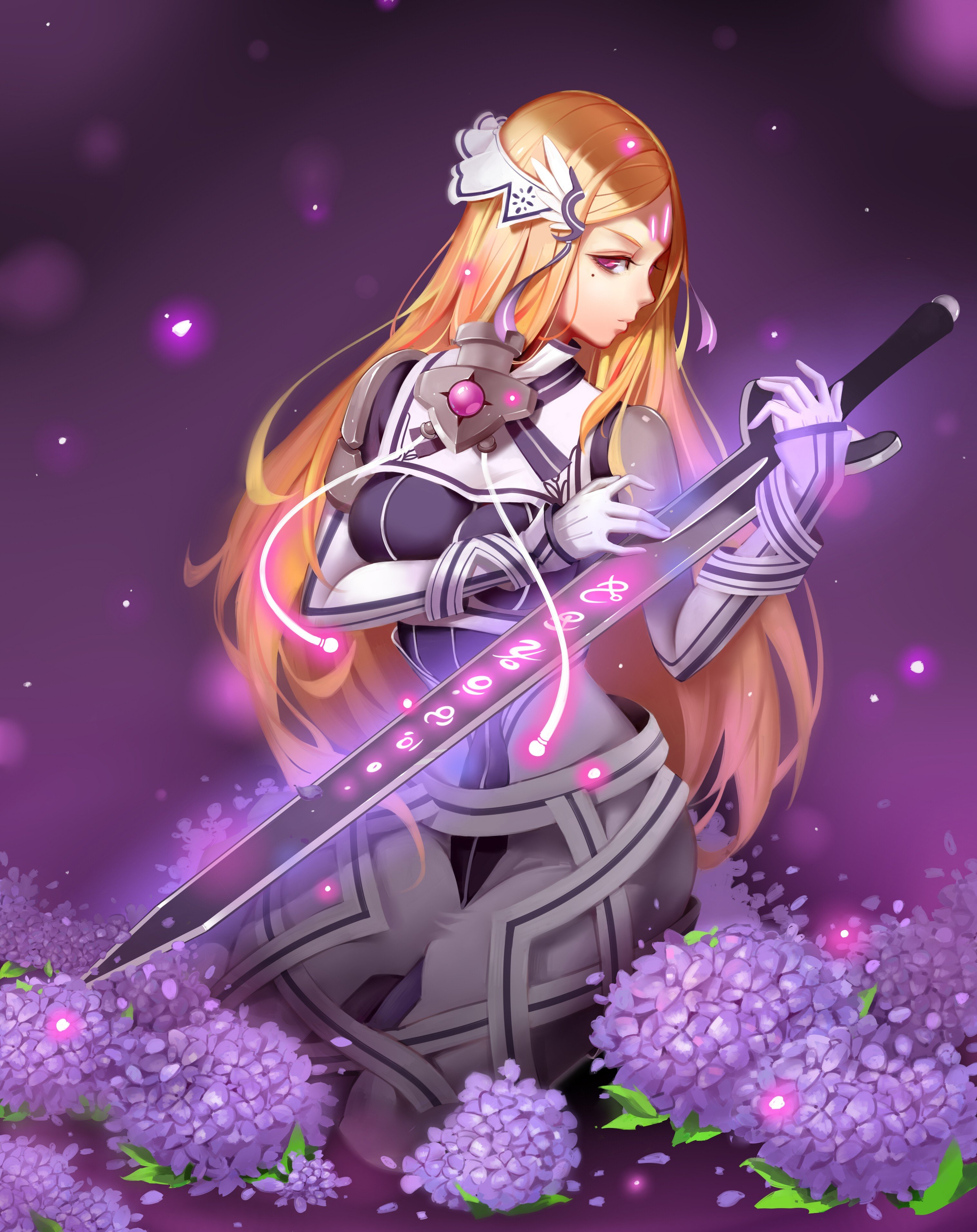 Long hair blonde red eyes anime anime girls sword - Anime girl with weapon ...