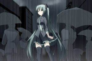 blue hair, Long hair, Blue eyes, Anime, Anime girls, Hatsune Miku, Vocaloid, Hair ornament, Rain