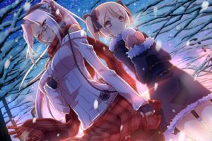 white hair, Blonde, Short hair, Long hair, Red eyes, Anime, Anime girls, Headphones, Hair ornament, Glasses, Scarf, Winter