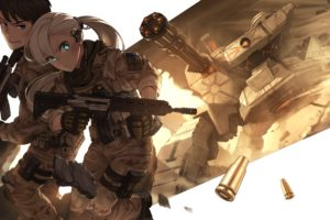 long hair, Anime, Anime girls, Weapon, Gun, Uniform, Gray hair, Aqua eyes