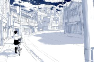selective coloring, Sky, Bicycle, Cityscape, Anime girls, Drawn