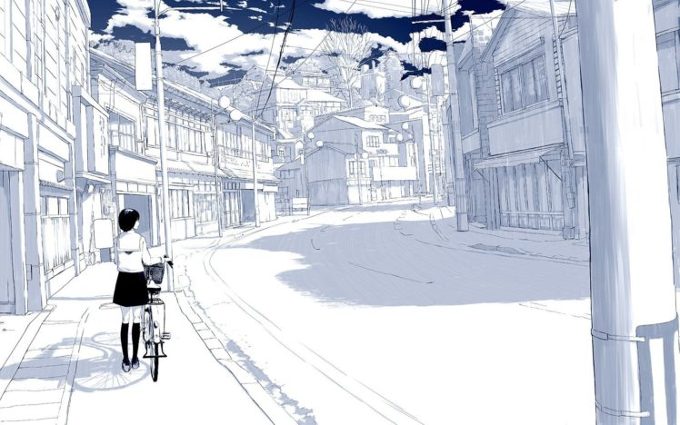 selective coloring, Sky, Bicycle, Cityscape, Anime girls, Drawn HD Wallpaper Desktop Background