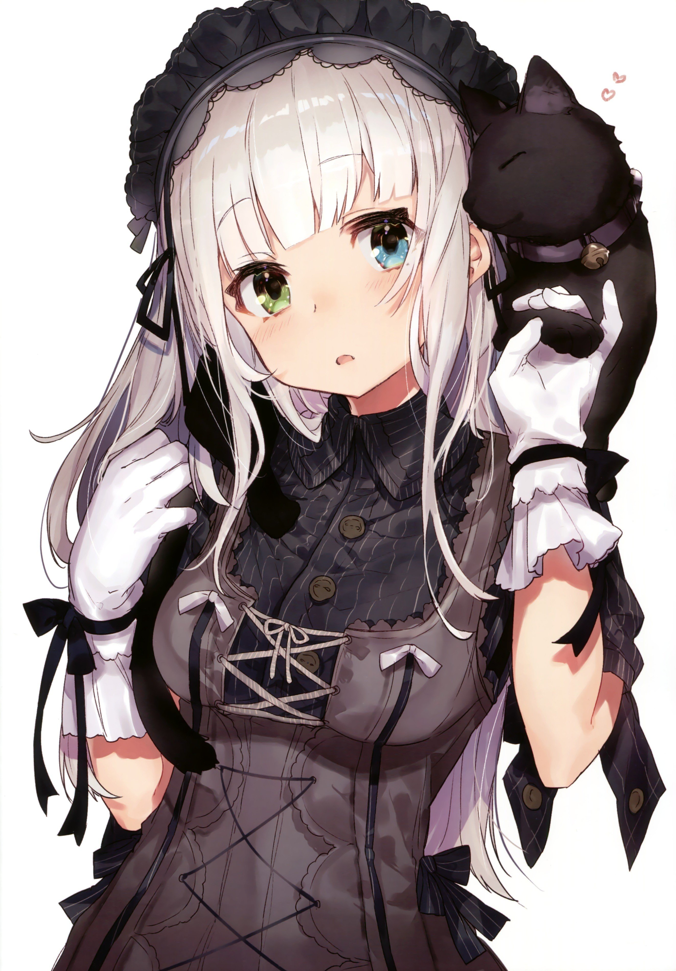 long hair anime anime girls heterochromia cat gray