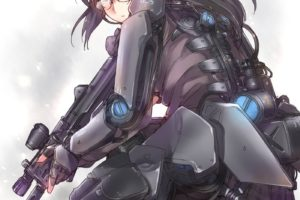long hair, Red eyes, Anime, Anime girls, Armor, Black hair, Glasses, Meganekko, Weapon, Gun