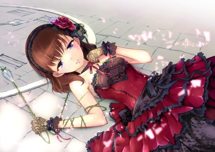 long hair, Brunette, Blue eyes, Anime, Anime girls, Dress, THE iDOLM@STER: Cinderella Girls, Kazumiya Akira, Sakuma Mayu HD Wallpaper Desktop Background