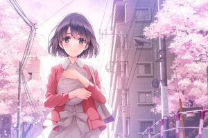 short hair, Gray eyes, Anime, Anime girls, Saenai Heroine no Sodatekata, Katou Megumi, Smiling, Spring, Cherry blossom