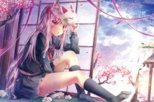 original characters, Animal ears, Cherry blossom, Flowers, Mask, Ribbon, School uniform, Knee highs, Sky