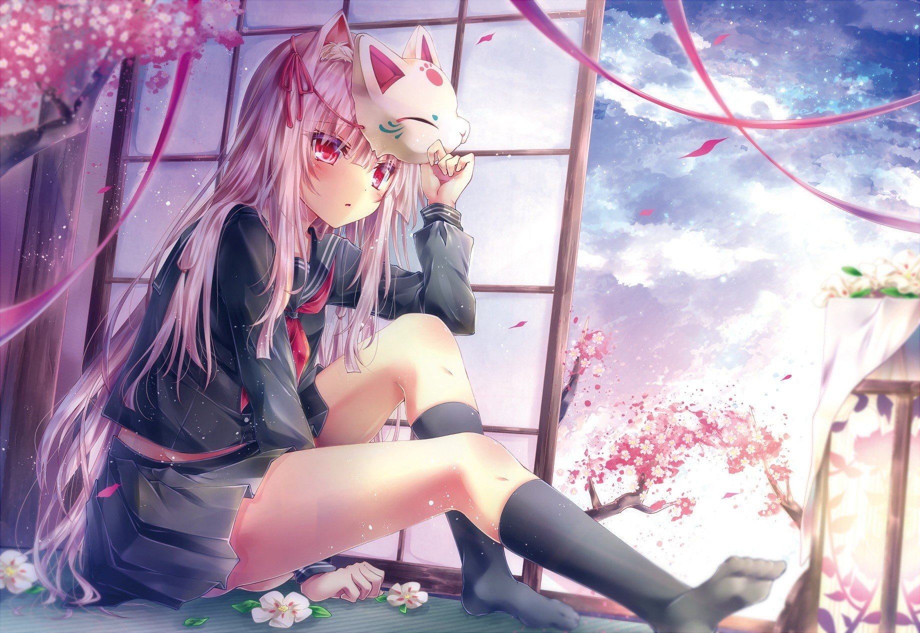 original characters, Animal ears, Cherry blossom, Flowers, Mask, Ribbon, School uniform, Knee highs, Sky Wallpaper