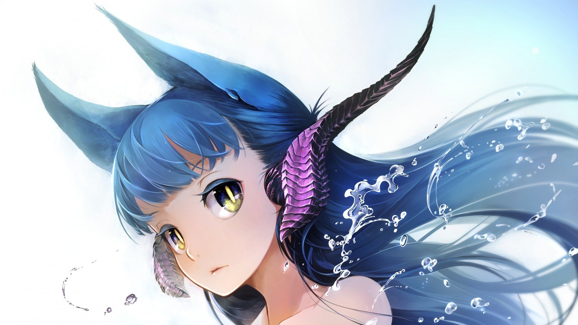 animal ears blue hair -#main