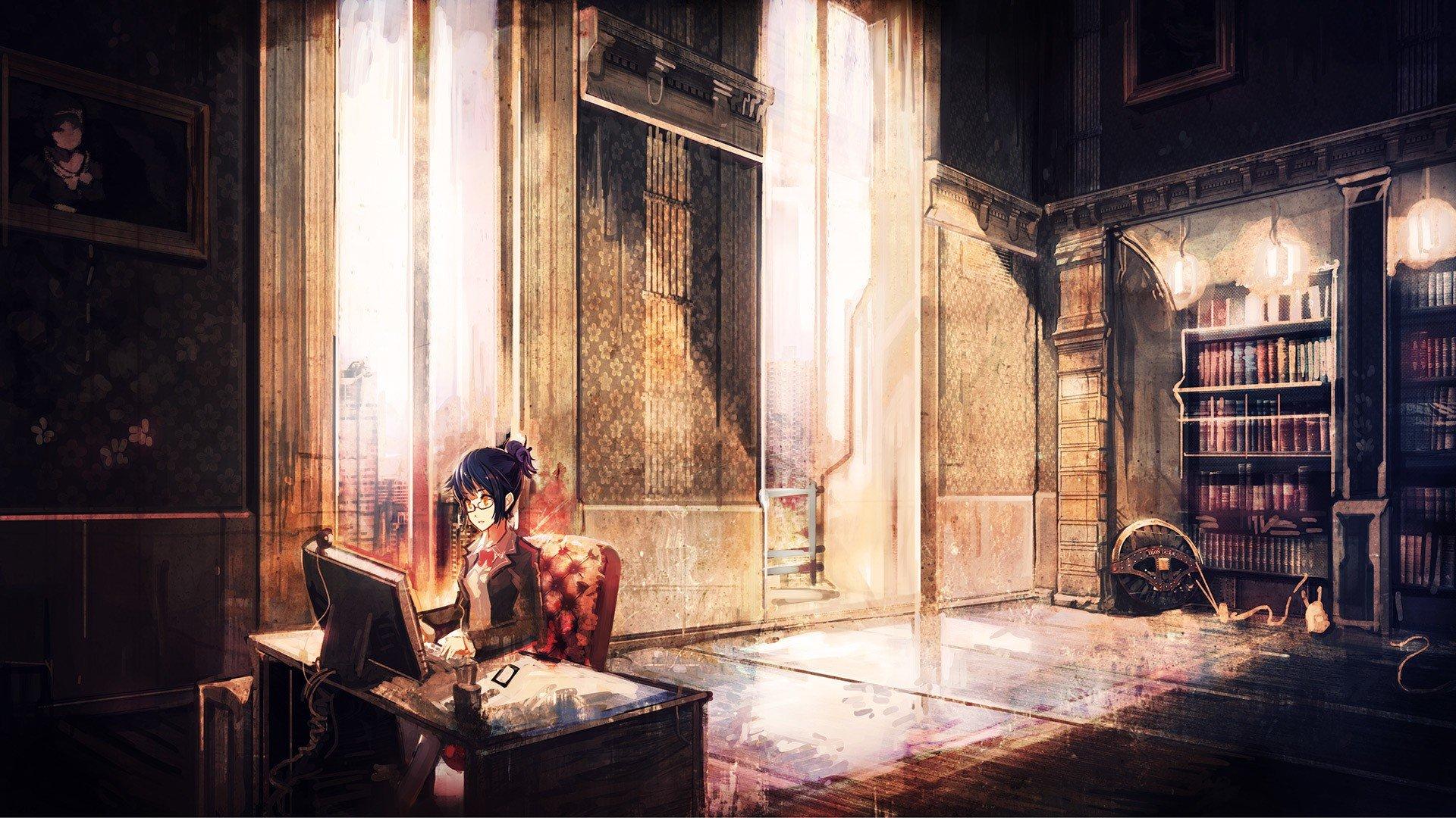 purple hair, Short hair, Anime, Anime girls, Glasses, Room, Monitor Wallpaper
