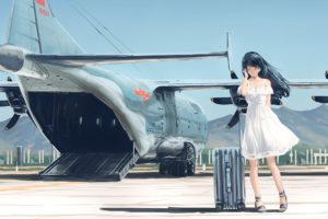 long hair, Anime, Anime girls, Aircraft, Black hair, Dress