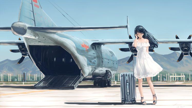 long hair, Anime, Anime girls, Aircraft, Black hair, Dress HD Wallpaper Desktop Background