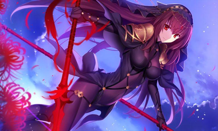 long hair, Purple hair, Red eyes, Anime, Anime girls, Fate Grand Order, Scathach ( Fate Grand Order ), Armor, Headdress, Weapon, Bodysuit HD Wallpaper Desktop Background