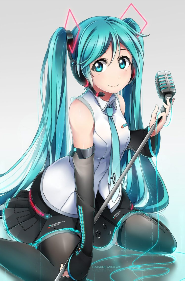 long hair, Blue hair, Blue eyes, Anime, Anime girls, Vocaloid, Hatsune Miku, Headphones, Microphone, Twintails, Skirt HD Wallpaper Desktop Background