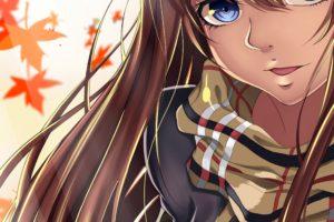 original characters, Long hair, Brunette, Blue eyes, Anime, Anime girls