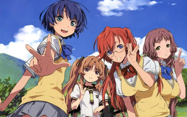 anime girls, Takatsuki Ichika, Tanigawa Kanna, Yamano Remon, Kitahara Mio, Ano Natsu de Matteru HD Wallpaper Desktop Background