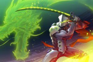 Genji Shimada, Robot, Dragon, Sword, Fantasy art, Overwatch, Genji (Overwatch)