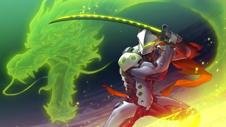 Genji Shimada, Robot, Dragon, Sword, Fantasy art, Overwatch, Genji (Overwatch) HD Wallpaper Desktop Background