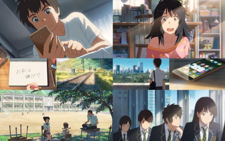 Kimi no Na Wa, Cellphone, Anime girls, Anime boy, School uniform HD Wallpaper Desktop Background
