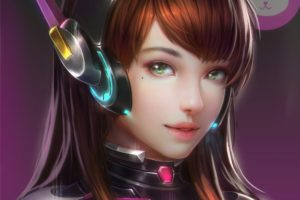 long hair, Brunette, Cleavage, Green eyes, Anime, Anime girls, Overwatch, D.Va (Overwatch), Headphones, Bodysuit, Open shirt